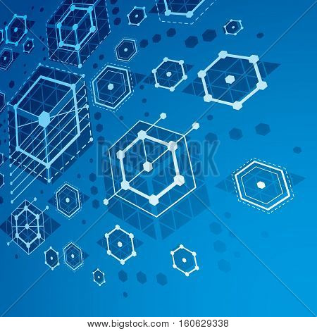 Bauhaus retro perspective blue art vector background made using lines and honeycombs. Geometric graphic 1960s illustration can be used as booklet cover design.
