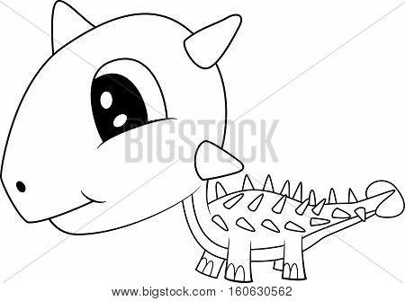 Illustration of Cute Black and White Cartoon Baby Ankylosaurus Dinosaur. Vector EPS 8.
