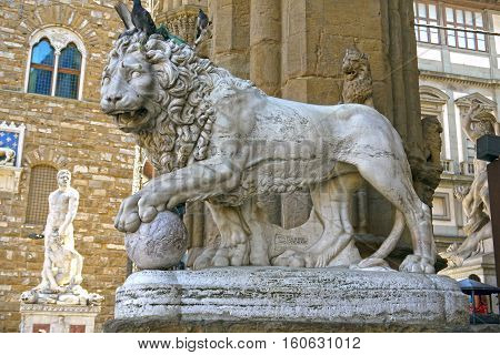 FLORENCE, ITALY - August 23, 2012 : Lion statue in Piazza della Signoria in Florence, Italy.