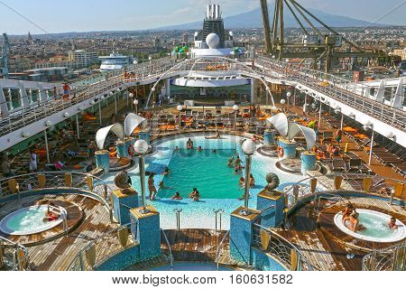 CATANIA, ITALY - AUGUST, 17 2013 - MSC Orchestra cruise ship in port of Catania.