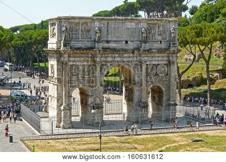 ROME, ITALY - August 10, 2016: Arch of Constantine near the Colosseum, Rome. ITALY.
