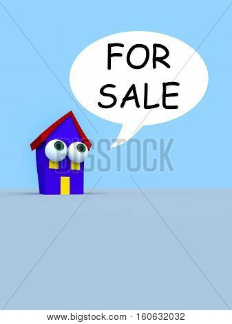 Cartoon House With Big Eyes And A Speech Bubble For Sale 3d illustration