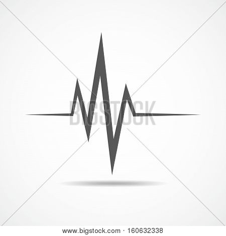 Gray heartbeat icon. Vector illustration. Heartbeat sign in flat design. Heartbeat isolated.