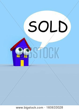 Cartoon House With Big Eyes And A Speech Bubble Sold 3d illustration