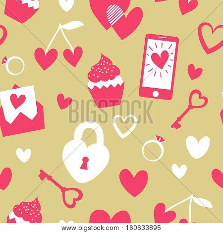 Valentine's Day Vector Seamless Pattern. Flat Cartoon Elements On Gold Background. Cute Girly Stuff
