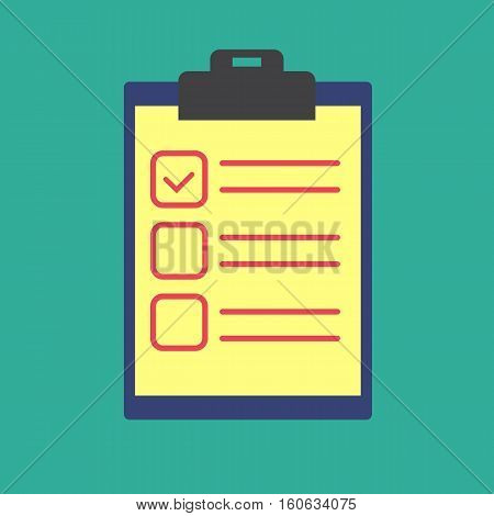 Clipboard with checklist icon. Flat illustration of clipboard with checklist vector icon for web isolated on green background