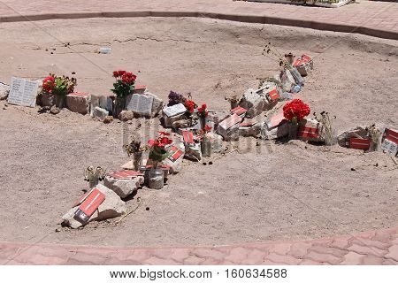 CALAMA, CHILE-NOV. 11, 2016:  A memorial to the victims of the military government under Agusto Pinochet who were executed in this deserted area of the Atacama Desert in October of 1973.