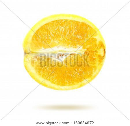 Bright photo lemon in a cut isolated on white background