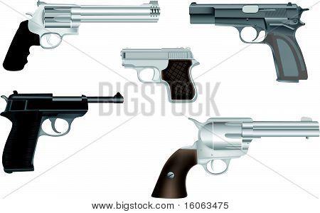 Gun and revolver illustration