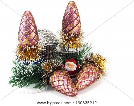 Toys santoklaus bumps isolate branch of the Christmas tre isolated on white background
