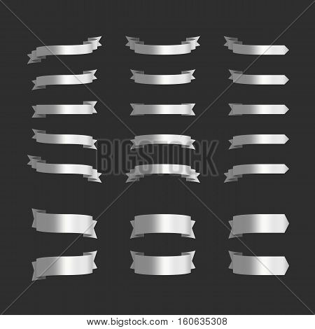 Set of silver ribbon banners on black background. Silver ribbons collection for your text. Vector illustration.