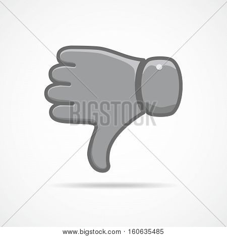 Thumb down icon isolated. Vector illustration. Dislike concept. Hand with thumb down in flat design.