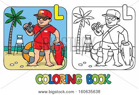 Coloring picture or coloring book of lifegueard with equipment on the beach. Profession ABC series. Children vector illustration. Alphabet L