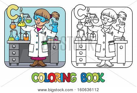 Coloring picture or coloring book of funny chemist or scientist. A woman in glasses dressed in a lab coat and gloves with retort or vial. Profession ABC. Childrens vector illustration. Alphabet C
