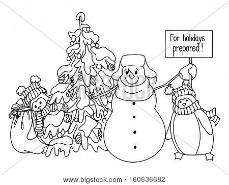 Funny Snowman And Penguin Hand Drawn Cartoon Style Near A Christmas Tree Waiting For The Onset Of Th