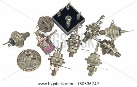 Powerful semi-conductor diodes and other radio components on a white background