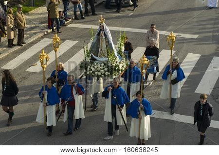 PENICHE PORTUGAL - Dec 8 2016: Traditional Christmas parade of the statue of St Mary in Peniche Portugal.