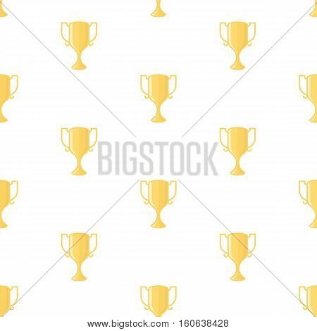 Seamless pattern with gold winners cup in flat design style. Champion cups and trophies template.