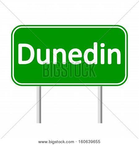 Dunedin road sign isolated on white background.