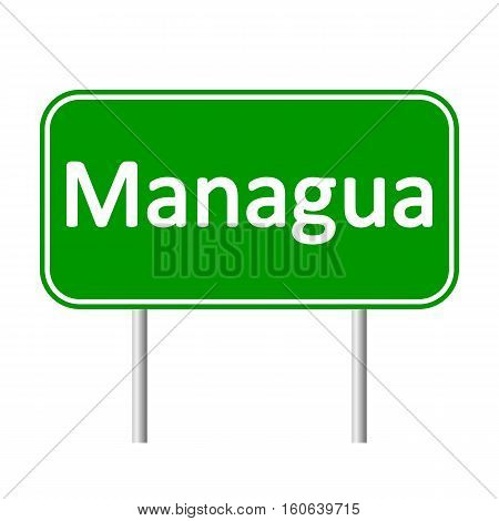Managua road sign isolated on white background.