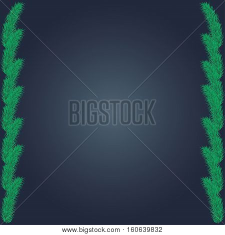 Frame of coniferous branches. Background with evergreen trees. Backdrop for a Christmas design. Vector illustration with branches of pine spruce fir or conifer.