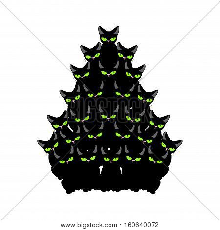 Christmas Tree Of Cats. Spruce Of Pet. Fir-tree From Cat. New Year Illustration. Hmas Pattern Of Cut