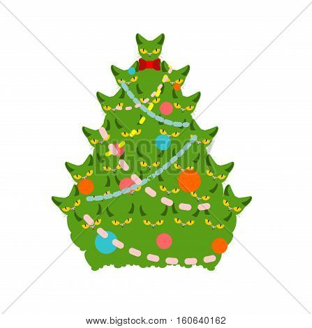 Cats Christmas Tree. Spruce Of Pet. Fir-tree From Cat. New Year Illustration. Hmas Pattern Of Cute A