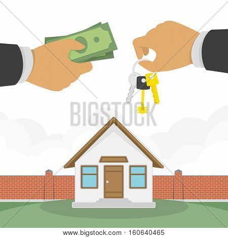 Buying a house concept. Real estate and Home for Sale vector illustration in flat design. The hand of a realtor holds out a key to the house, and the buyer or lessee gives money.
