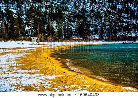 Lake Tahoe, Nevada, USA - December 28, 2015:  Lakeside views on the North Shore of Lake Tahoe, near Sand Harbor, and Incline Village.