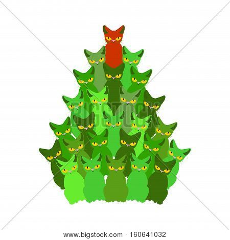 Fir-tree Of Cats. Spruce Of Pet. Christmas Tree From Cat. New Year Illustration. Hmas Pattern Of Cut