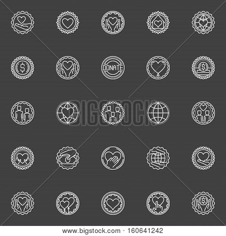 Donation and fundraising vector badges. Collection of support and care linear concept symbols. Charity outline emblems on dark background