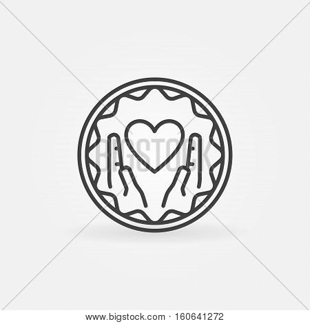 Hands holding heart badge. Vector outline charity and donation emblem or sign
