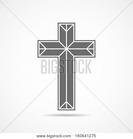 Gray christian cross icon. Abstract christian cross symbol. Vector illustration
