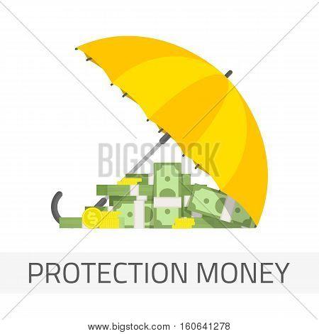 Money under umbrella vector illustration. Concept of money protection, financial savings insurance. Yellow umbrella, golden coins and big pile of cash.
