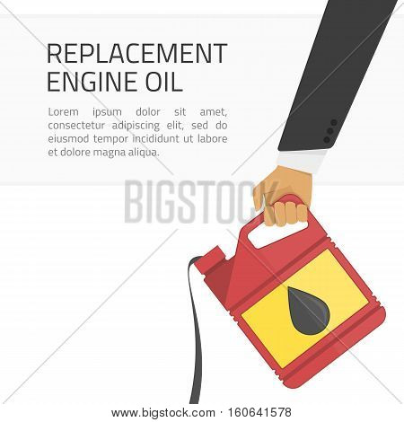 Illustration of replacement motor oil in an internal combustion engine. Picture of motor, engine oil tank, flat style. Service concept and repair.