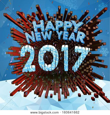 Happy new year 2017 greeting card with low poly snow and geometric fireworks BG in square size