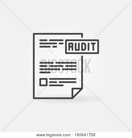 Audit concept icon. Vector thin line business analytics symbol. Creative financial audit documentation minimal sign