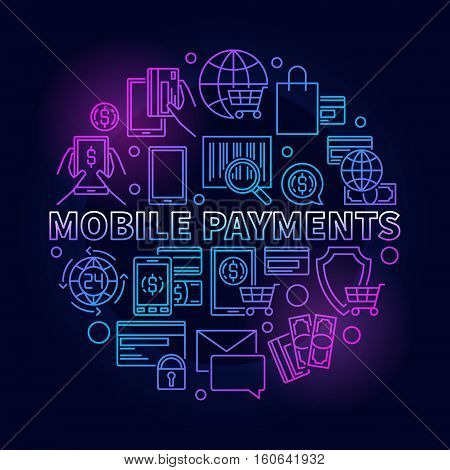 Mobile payments circular blue sign. Vector outline round smartphone money transfer illustration. Mobile payments with credit card symbol in thin line style