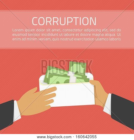 Businessman giving a bribe. Bribery concept. Money in an envelope in hands of businessmen during corruption deal. Illustration in flat style on red background. Anti Corruption concept.
