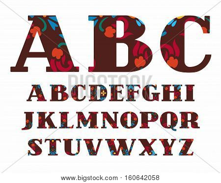 English alphabet, decorative flowers, vector font, capital letters, brown. The letters of the English alphabet with serifs. Red and blue flowers on a brown background.