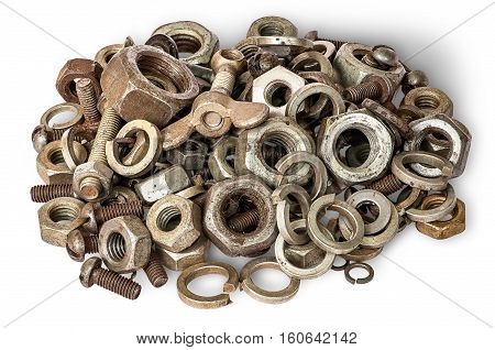 Pile of old fasteners top view isolated on white background