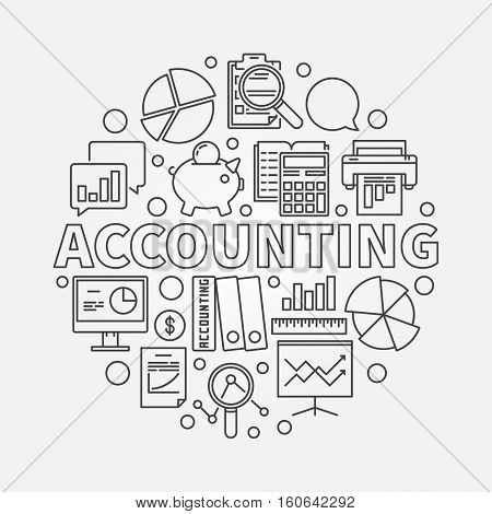 Accounting round linear illustration. Vector business analysis and accounting concept symbol in thin line style