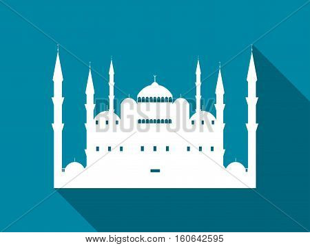 Mosque With A Long Shadow. Blue Mosque Flat Icon. Vector Illustration.