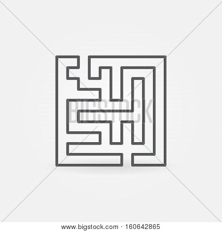 Line maze icon. Vector outline square maze concept symbol. Labyrinth simple sign