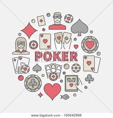 Poker round colorful illustration. Vector gambling symbol made with word POKER and casino chips, cards and players