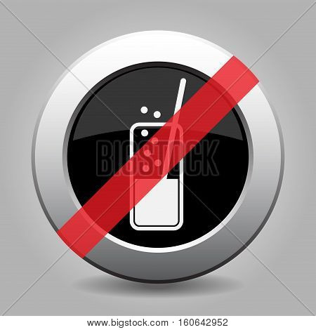 Black and gray metallic button with shadow. White glass with carbonated drink and straw banned icon.