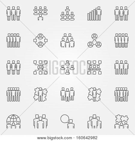 Team icons set. Vector group of business people concept symbols in thin line style. Business team creative linear signs