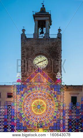 luminarie in a patronal festival evening in Puglia