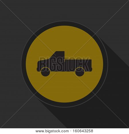 yellow round button - black pickup with a flatbed icon and long shadow