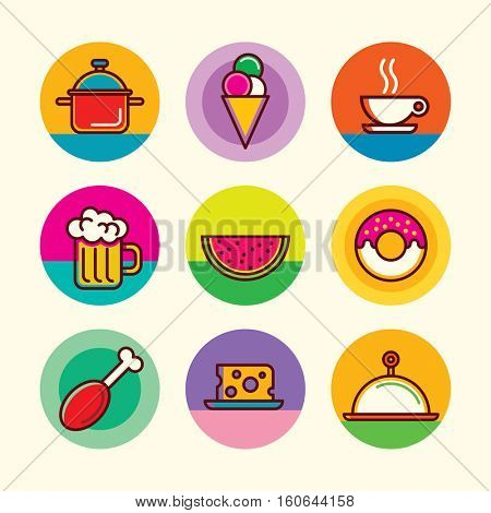 Colorful food icons set. Vector illustration.